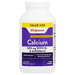 Walgreens Calcium 600mg +D3 Plus Minerals, Easy to Swallow Tablets