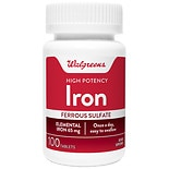 Walgreens High-Potency Iron 65mg, Ferrous Sulfate 325mg, Tablets