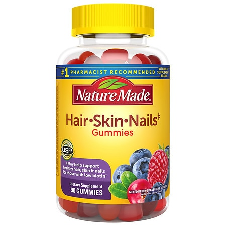 Nature Made Hair, Skin, Nails Adult Gummies Mixed Berry, Cranberry & Blueberry - 90 ea