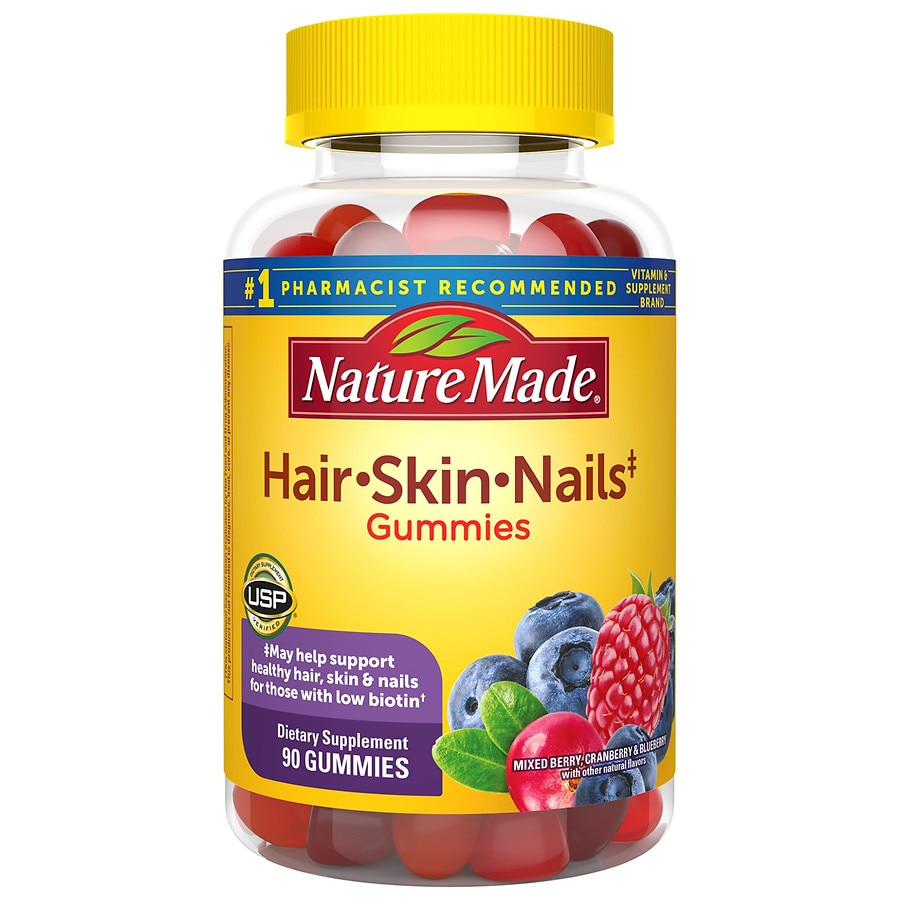 Nature Made Hair Skin Nails Adult Gummies Mixed Berry Cranberry Blueberry