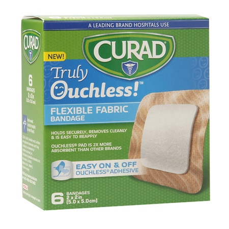Curad Truly Ouchless Flexible Fabric Bandage 2 x 2 inch (5 x 5 cm) - 6 ea