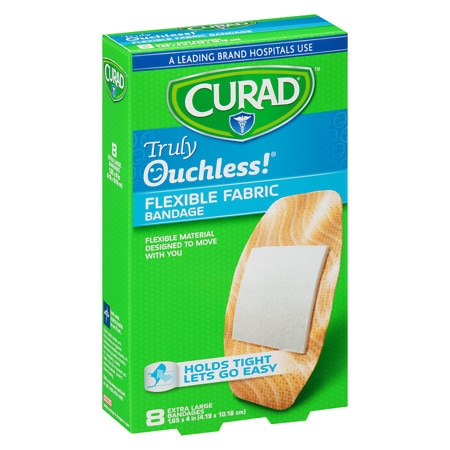 Curad Truly Ouchless Flexible Fabric Bandage Extra Large 1.65 x 4 inch (4.19 x 10.16 cm) - 8 ea