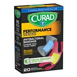 Curad Performance Series Antibacterial Bandages Fingertip & Knuckle, Assorted Sizes Assorted Colors