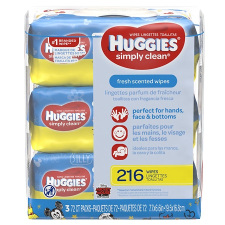 Huggies Simply Clean Baby Wipes, Soft Pack, Alcohol-free, Hypoallergenic, Fresh Scent - 72 ea