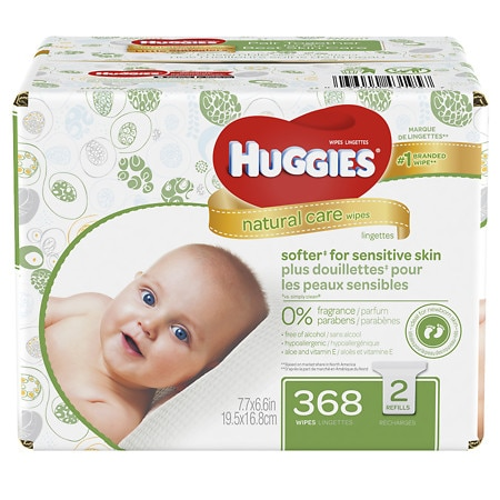 Huggies Natural Care Baby Wipes, Refill Pack, Fragrance-free, Alcohol-free, Hypoallergenic Fragrance Free - 368 ea