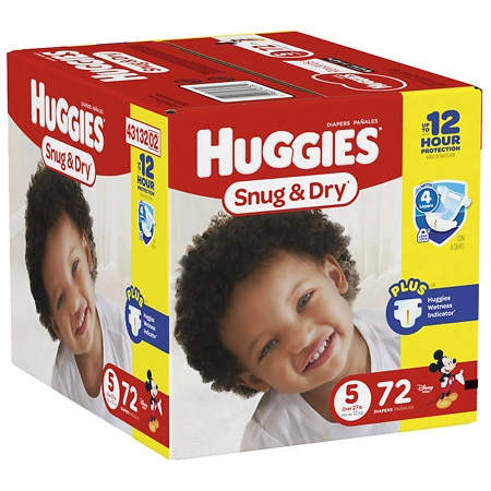 Huggies Snug & Dry Diapers, Size 5 - 72 ea