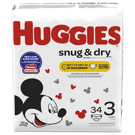 Huggies Snug & Dry Diapers, Size 3 - 34 ea