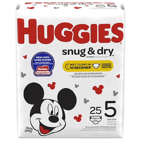 Huggies Snug & Dry Diapers, Size 5 - 25 ea