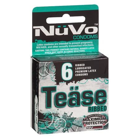 NuVo Tease Ribbed Lubricated Premium Latex Condoms