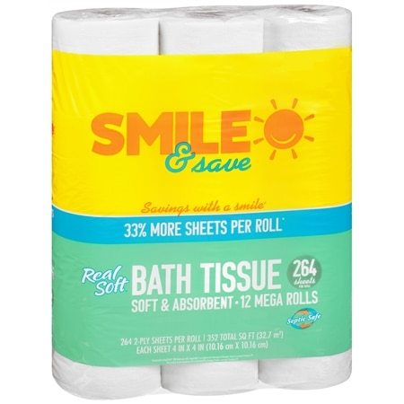 Smile & Save Real Soft Bath Tissue - 264 sh x 12 pack