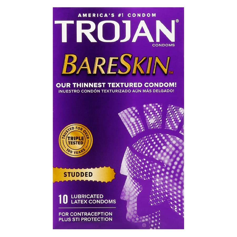 Trojan Studded Bareskin Premium Lubricated Latex Condoms Walgreens Durex Play Silky Lubricant 100ml Product Large Image