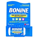 Bonine Chewable Tablets for Motion Sickness Raspberry