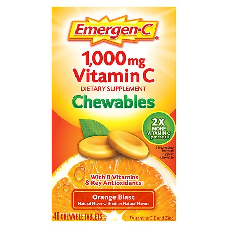 Emergen-C 1000 mg Vitamin C Chewables Orange Blast - 40 ea