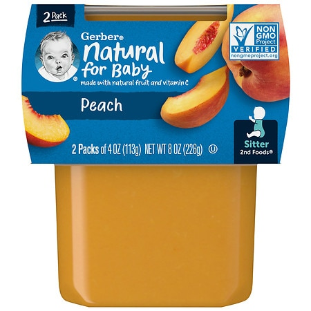 Gerber 2F Puree Tub Peaches - 4