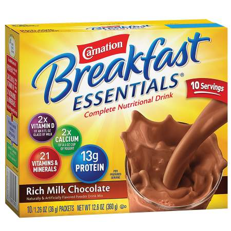 Carnation Breakfast Essentials Complete Nutritional Drink, Packets Rich Milk Chocolate - 1.26 oz. x 10 pack