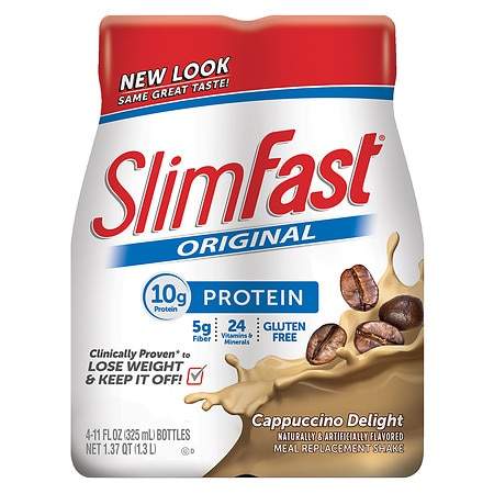 SlimFast Ready to Drink Meal Replacement Shake Cappuccino Delight - 11 oz. x 4 pack