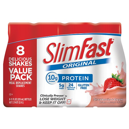 SlimFast Ready to Drink Meal Replacement Shake Strawberries & Cream - 11 oz. x 8 pack