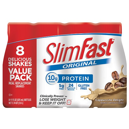 SlimFast Ready to Drink Meal Replacement Shake Cappuccino Delight - 11 oz. x 8 pack
