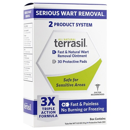 Terrasil Fast & Natural Wart Removal Ointment Plus 30 Protective Wart Pads - 1 ea