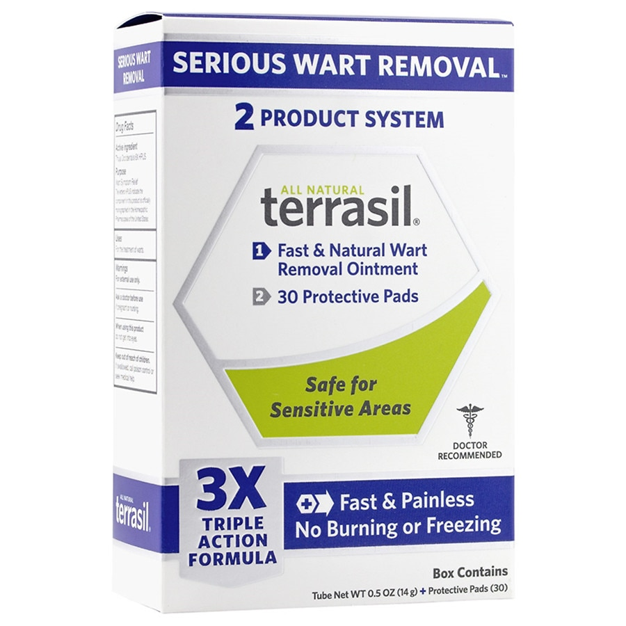 Terrasil Fast & Natural Wart Removal Ointment Plus 30 Protective Wart Pads