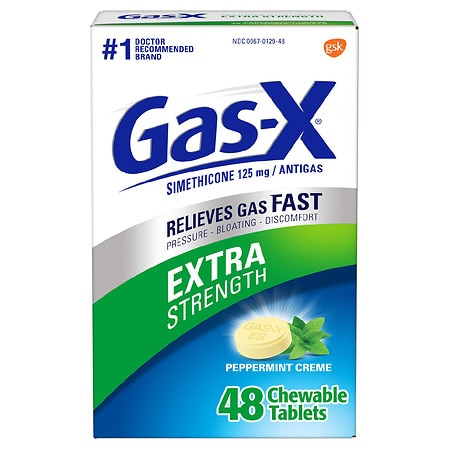 Gas-X Extra Strength Gas Relief Chewable Tablets Peppermint Creme - 48 ea