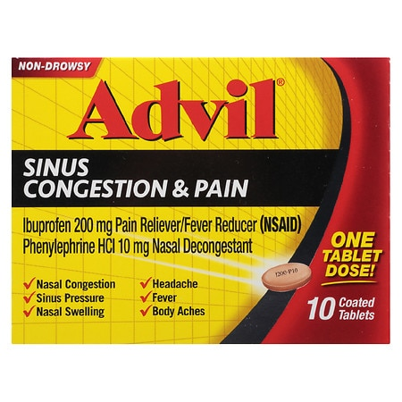 Advil Sinus Congestion & Pain Coated Tablets - 10 ea