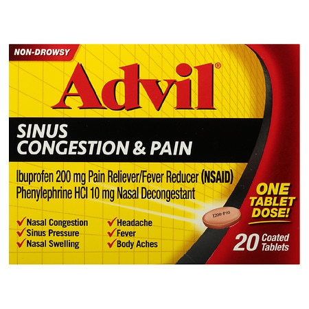 Advil Sinus Congestion & Pain Coated Tablets - 20 ea