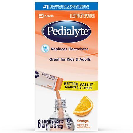 Pedialyte Electrolyte Powder Pack Orange - 0.6 oz. x 6 pack
