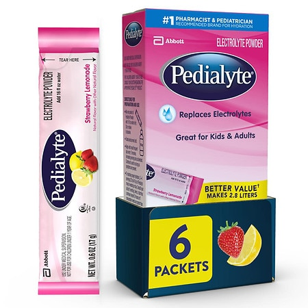 Pedialyte Electrolyte Powder Strawberry Lemonade - 0.6 oz. x 6 pack