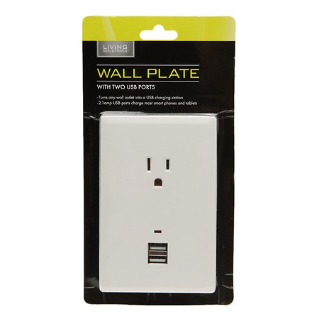 Living Solutions Wall Plate With USB - 1 ea