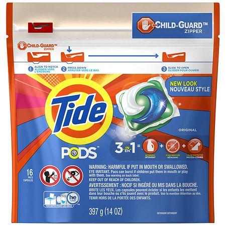 Tide PODS Original Scent HE Turbo Liquid Detergent Pacs Original - 0.87 oz. x 16 pack