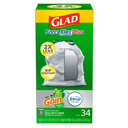 Glad Forceflex Tall Kitchen Trash Bags 13 Gallon Gain Original, Original 13  gallon