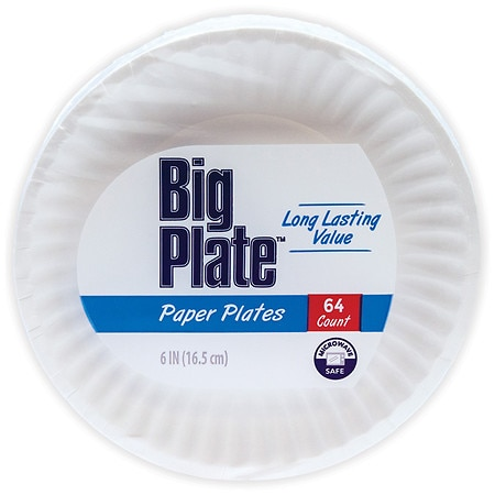 Smile & Save Paper Plates 6in - 64 ea
