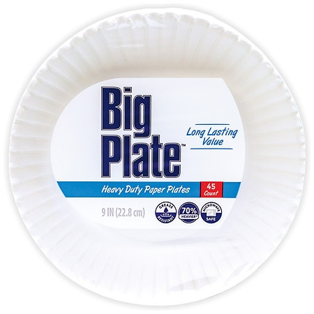 Smile & Save Heavy Duty Paper Plates 9in - 45 ea