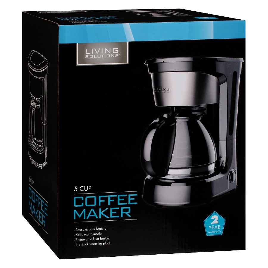 Living Solutions 5 Cup Coffee Maker Black