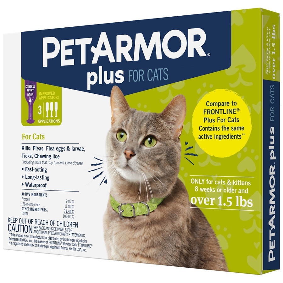 Petarmor Plus Flea And Tick Control For Cats Over 1 5 Lb Walgreens