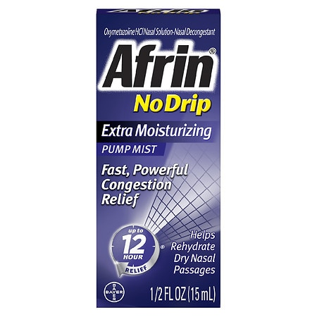 Afrin No Drip 12 Hour Pump Mist, Extra Moisturizing - 0.5 fl oz