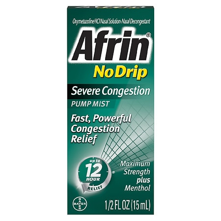 Afrin No Drip 12 Hour Pump Mist, Severe Congestion - 0.5 fl oz