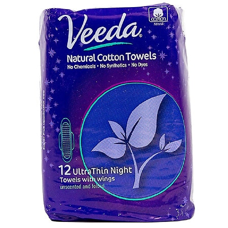 Veeda Natural Ultra Thin Night Pad With Wings - 12 ea