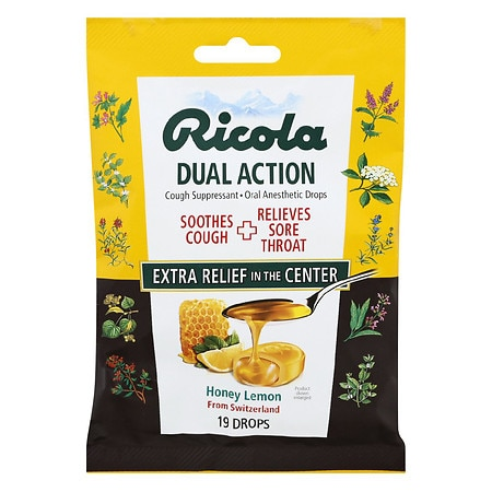 Ricola Dual Action Cough Drops Honey-Lemon - 19 ea
