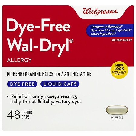 Walgreens Wal-Dryl Allergy Dye Free, Liquid Caps