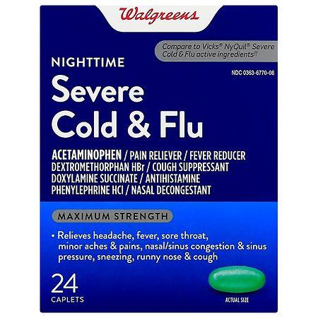 Walgreens Cold & Flu Severe Nighttime Caplets - 24 ea