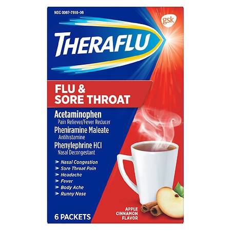 TheraFlu Flu & Sore Throat Powder Apple Cinnamon - 6 ea