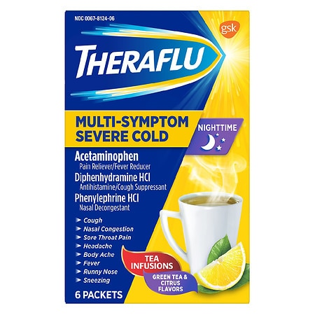 TheraFlu Nighttime Multi Symptom Severe Cold Tea Infusions Green Tea & Citrus - 6 ea