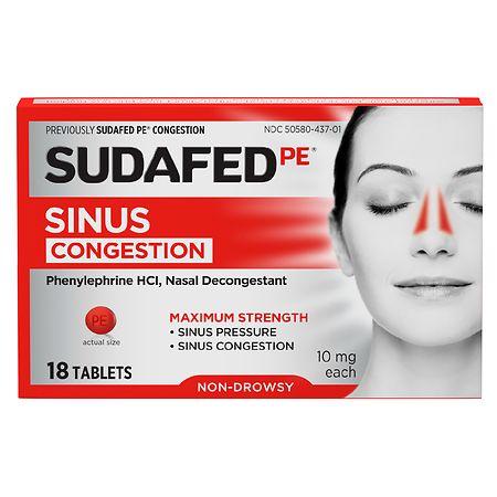 Sudafed PE PE Congestion & Sinus Pressure Relief, Maximum Strength - 18 ea