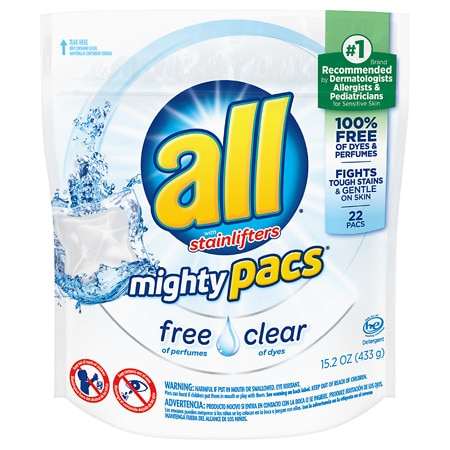All Mighty Pacs Laundry Detergent Free & Clear 22 Ea