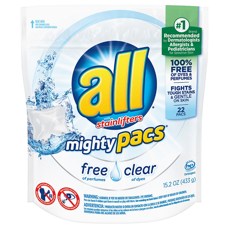 All Mighty Pacs Laundry Detergent Free & Clear