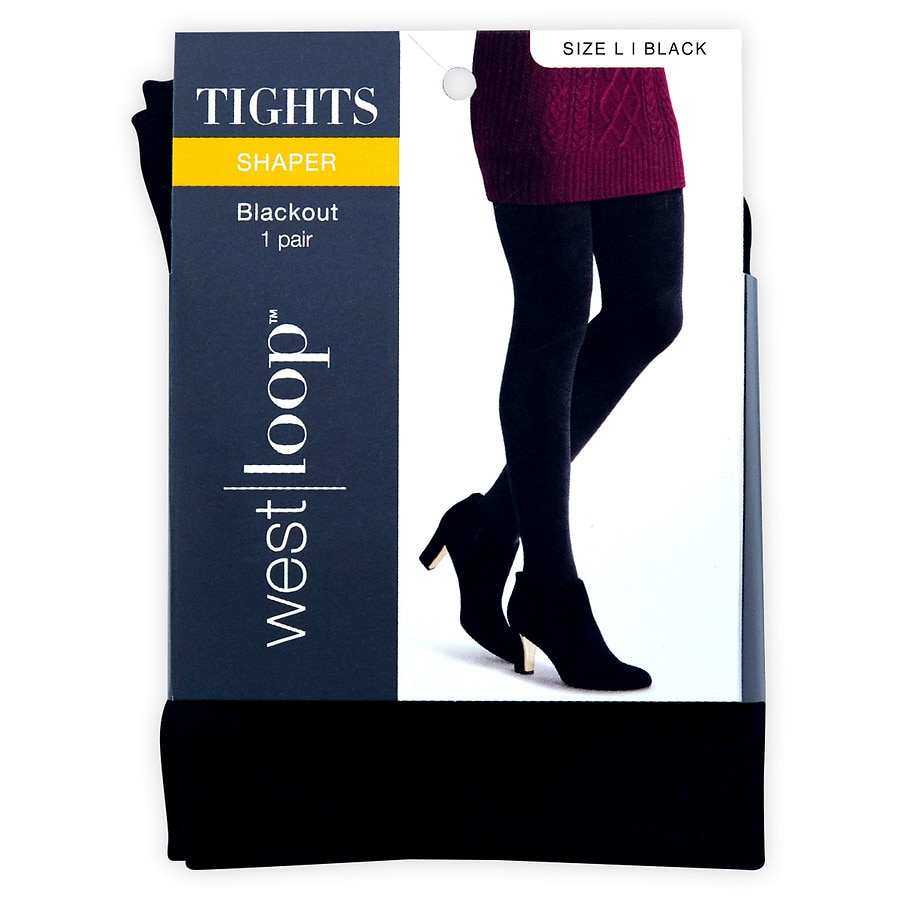 39f65da7d32d6 West Loop Blackout Opaque Tights L Black | Walgreens