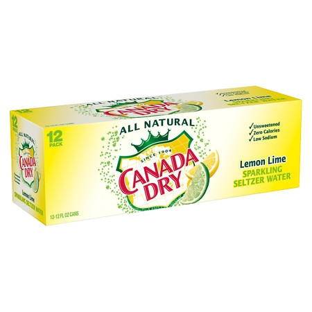 Canada Dry Sparkling Water Lemon Lime - 12 oz. x 12 pack