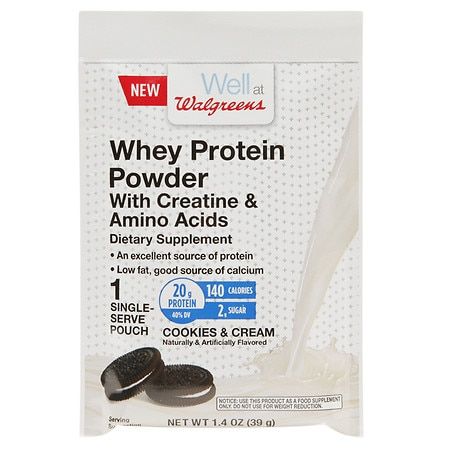 Walgreens Whey Protein With Creatine & Amino Acids Cookies & Cream - 1.4 oz.